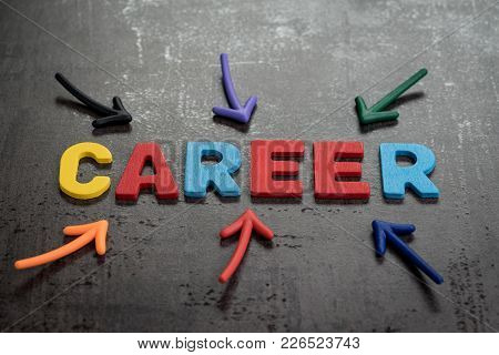 Business Career Path Opportunities Concept By Colorful Wooden Alphabets As Word Career With Magnet A
