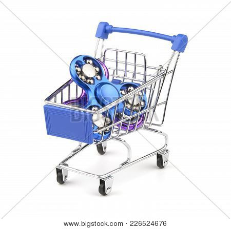 Fidget Spinner In A Shopping Cart Isolated On A White Background. Concept To Buying Toy.