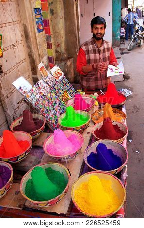 Pushkar, India - February 24: An Unidentified Man Sells Paints In The Street On February 24, 2011 In