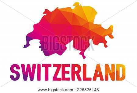 Low Polygonal Map Of Swiss Confederation With Sign Switzerland, Both In Warm Colors Of Red, Purple,