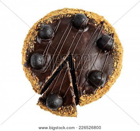 Chocolate cake top view isolated on white background