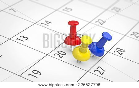 Busy Day With Several Events Concept With 3 Colored Push Pins On A Calendar Page 3d Illustration.