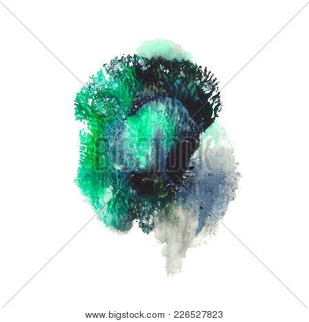 Abstract Acrylic Paint Monotyped Spot. Green, Turquoise, Black Bright Colors. Vector Illustration Is
