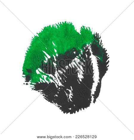 Abstract Acrylic Paint Monotyped Spot. Green, Emerald, Black Bright Colors. Vector Illustration Isol