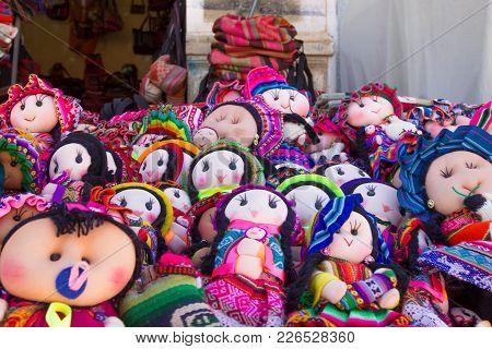 Tarabuco Traditional Market View, Bolivia. Rag Dolls Background