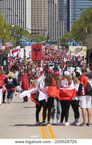 Chicago, Il, United States - May 06, 2017: People Parading In Chicago During The Polish Consitution