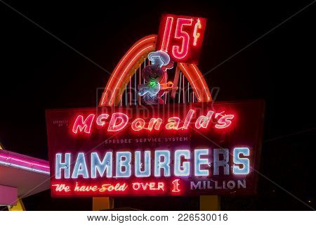 Mcdonald's First Location In The World At Night