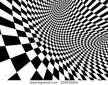 Abstract illusion. Geometric background with checkered texture of black and white colors. 3d render