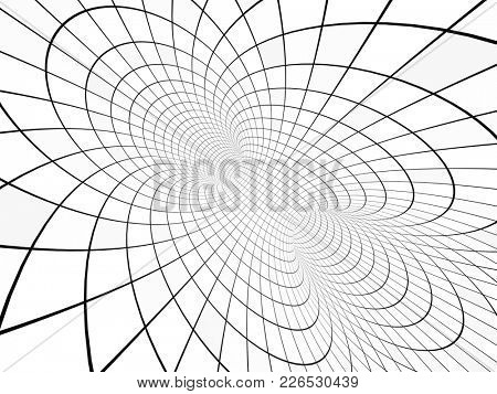 Abstract illusion. Black and white. Background with tube shape with checkered pattern. 3d render