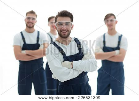 boss and team of professional industrial workers