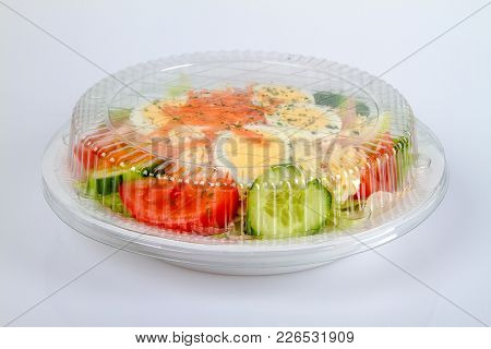 Salad Plate To Go On Bright Background