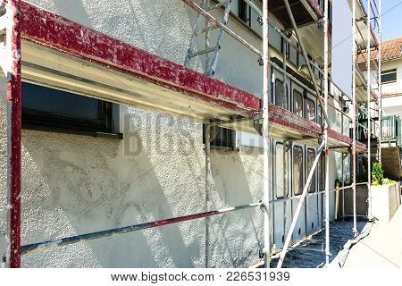 Scaffolding On A Public Building In Detail