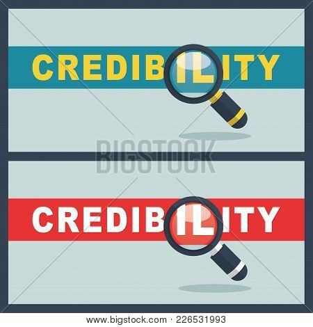Illustration Of Credibility Word With Magnifier Concept