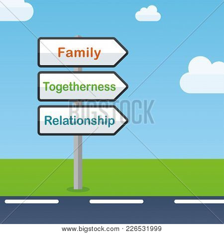 Illustration Of Family Direction Signs Abstract Concept