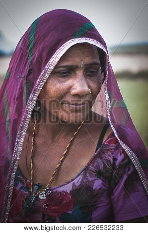 Ajmer, India - 17th February 2015 : A Portrait Shot Of An Indian Woman In Traditional Clothing.