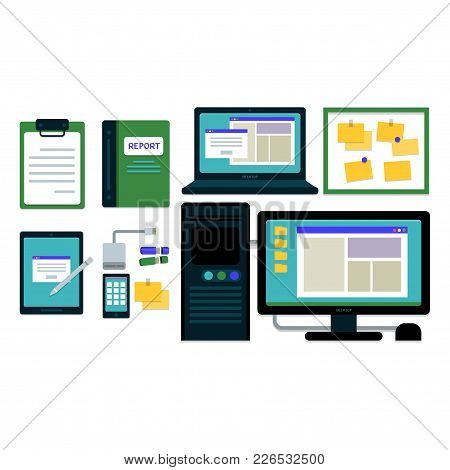 Office Stationary Elements And Computer Laptop For Business