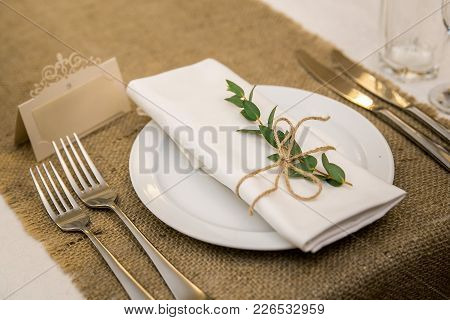 Wedding Table Setting In Rustic Style. Eco Style. Wedding Decoration. Table Setting With A Sign For