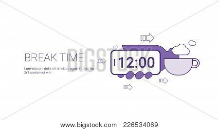 Coffee Break Time Web Banner With Copy Space Business Management Concept Vector Illustration