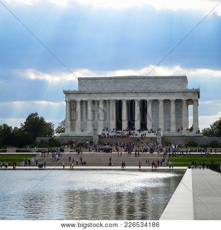 Lincoln Memorial in a dramatic dark day - Washington DC United States