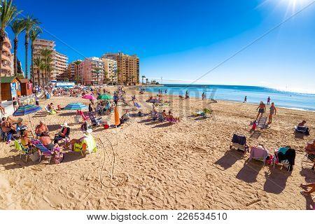Torrevieja , Spain - November 13, 2017: Coastline Of Playa Del Cura.