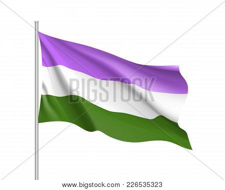 Genderqueer Pride Waving Flag Movement Lgbt, Realistic Icon. Symbol Of Sexual Minorities, Gays And L
