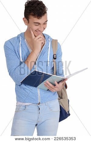 Portrait Of Happy Smiling Student With Notebook And Bag. Isolated White Background