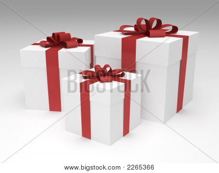 Three White Gift Boxes