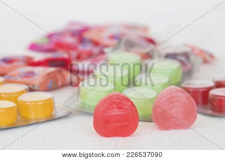 Cough Sore Throat Pastille Pills On Background White