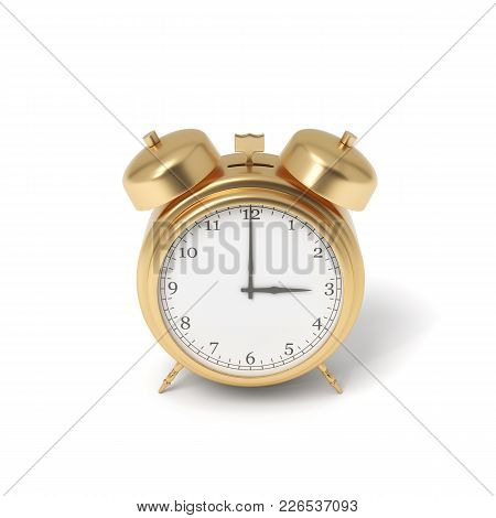 3d Rendering Of A Retro Alarm Clock Covered In Gold Standing On A White Background. Time Is Money. P