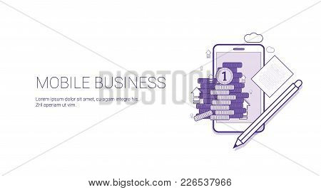 Mobile Business Web Banner With Copy Space Digital Marketing Management Concept Vector Illustration
