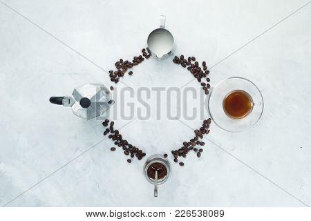 Clock Dial With Coffee Brewing Concept. Moka Pot, Espresso Cup, Milk Jug, Ground Coffee Jar And Coff