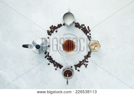 Coffee Beans Circle With Moka Pot, Espresso Cup, Milk Jug, Ground Coffee And Sugar. Clock Dial With