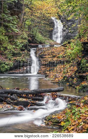 Deckertown Falls, A Beautiful Waterfall With Multiple Drops In Montour Falls, New York, Is Decked Ou
