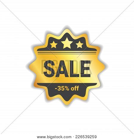 Sale Label Big Shopping Discount Golden Seal Isolated Vector Illustration