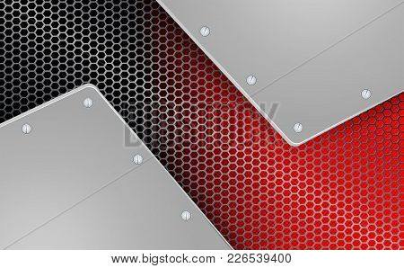 Abstract Geometric Background With Metal Grille, Two Frames And Bolts