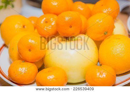 Tangerines Fruit. Tangerines Lie On A Table. Fresh Fruit.
