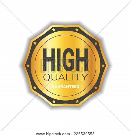 High Quality Sticker Golden Medal Icon Guaranteed Seal Isolated Vector Illustration