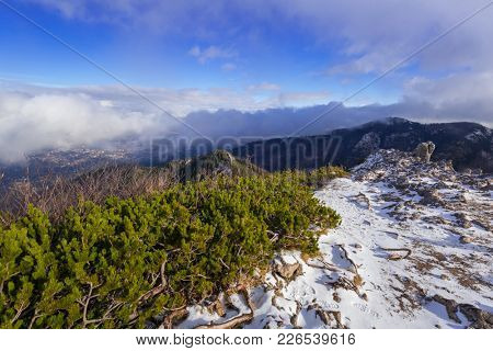 Aerial view of Zakopane town from the Sarnia Skala peak, Poland