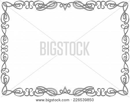 Greeting Card With Ornamental Swirl Floral Frame On The White Background, Vector Illustration