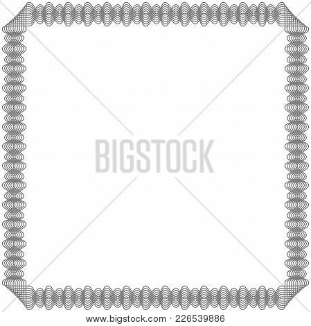 Black Frame With Many Swirl Ornate Interlaced Lines Isolated On The White Background, Vector Illustr