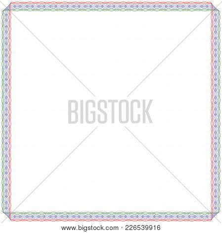 Frame With Many Swirl Ornate Interlaced Ordering Lines Isolated In Red, Blue And Green Colors On The