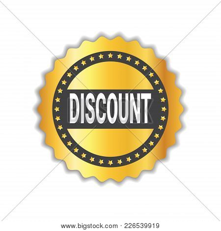 Discount Sticker Golden Seal Shopping Sale Icon Isolated Vector Illustration