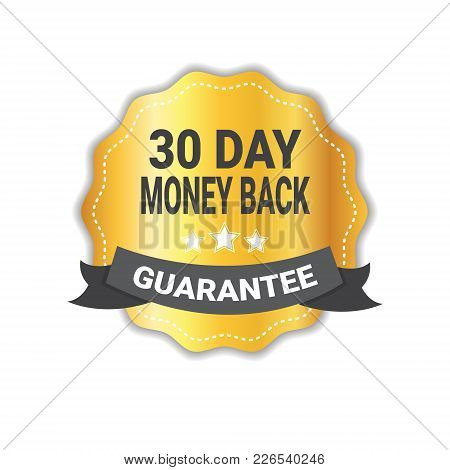 Money Back In 30 Days Guarantee Sticker Golden Medal Icon Seal Isolated Vector Illustration