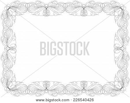 Greeting Card With Ornamental Swirl Floral Frame Isolated On The White Background, Vector Illustrati