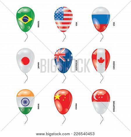 Shiny Helium Balloons With Most Popular Countires Flags