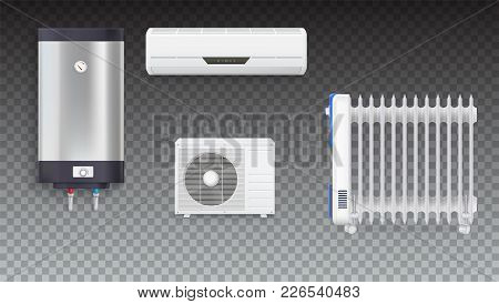 Air Conditioning, Electric Oil Radiator, Water Heater With Chrome Metal Of Front Side, Oil Filled He