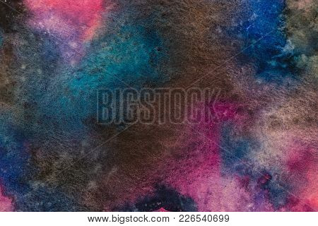 Watercolor Painting Space Background, Abstract Galaxy Watercolor Hand Painting,cosmic Nnight With St