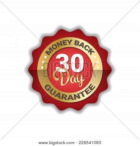 Money Back In 30 Days Guarantee Label Golden Icon Badge Isolated Vector Illustration
