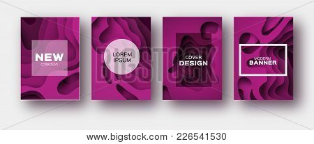 Magenta Paper Cut Wave Shapes. Layered Curve Origami Design For Business Presentations, Flyers, Post