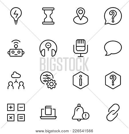 Technical Support Flat Icon Set. Single High Quality Outline Symbol Of Info For Web Design Or Mobile